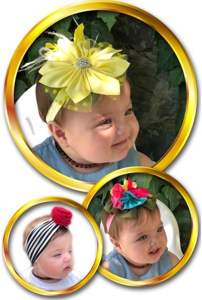 Babygiz Çiçek Aksesuarlı 3'lü Bandana Seti