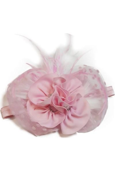 Babygiz Pembe Puantiyeli Tül Detaylı Pembe Çiçek Aksesuarlı Saç Bandı