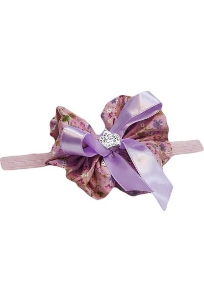 Babygiz Pembe Lastik Üzerine Pembe Çiçek Desenli Lila Kurdela Ve Taş Detaylı Saç Bandı