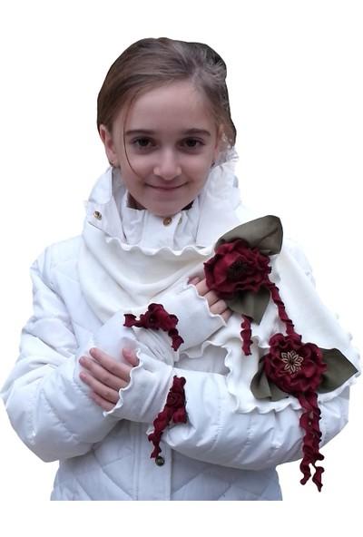 Babygiz Beyaz Çiçek Detaylı Eldiven Atkı Takım