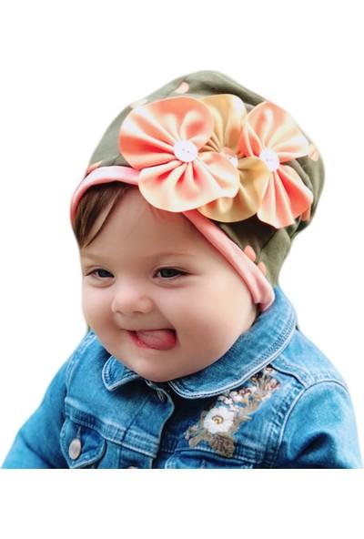 Babygiz Haki Üstüne Somon Puantiye Desenli Fiyonk Detaylı Şapka