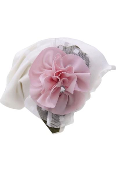 Babygiz Beyaz Üstüne Tüllü Pembe Çiçek Detaylı Şapka