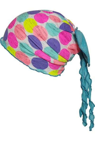 Babygiz Beyaz Üstüne Renkli Büyük Puantiyeli Mavi Fiyonk Ve Püskül Detaylı Şapka