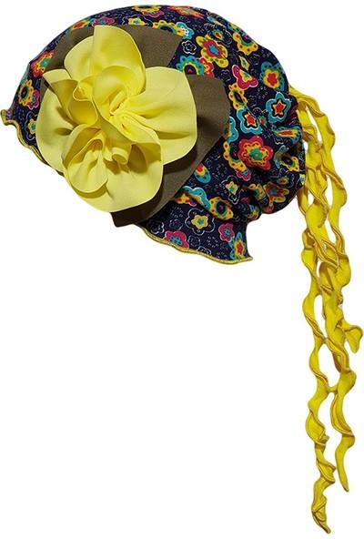 Babygiz Lacivert Üstüne Çiçek Desenli Sarı Çiçek Ve Püskül Detaylı Şapka