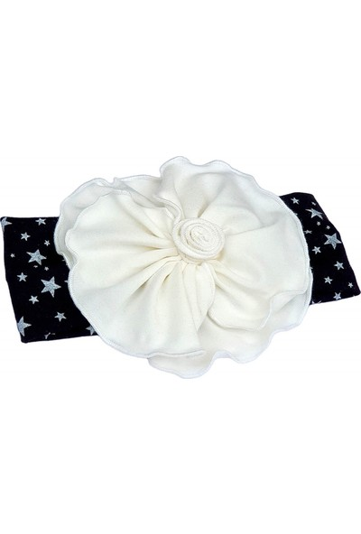 Babygiz Siyah Üzeri Ekru Renkli Çiçek Detaylı Bandana