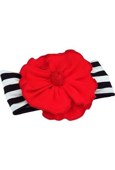 Babygiz Siyah Beyaz Çizgili Üzerine Kırmızı Renkli Çiçek Detaylı Bandana