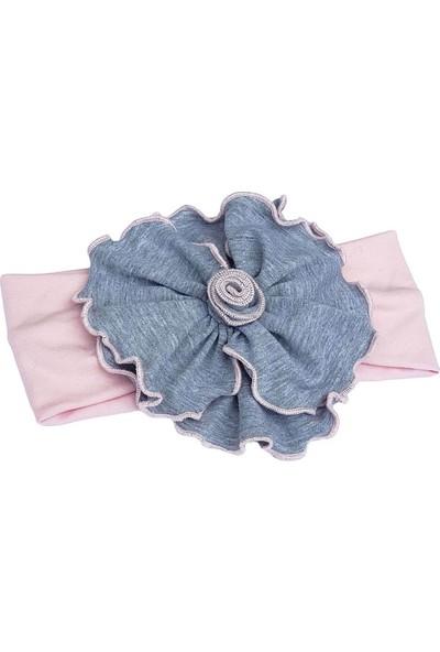 Babygiz Pudra Üzeri Gri Renkli Çiçek Detaylı Bandana