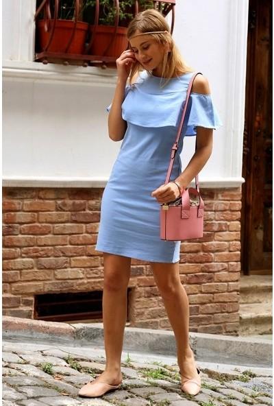 Freestar Omuzları Açık Fırfırlı Elbise-Mavi