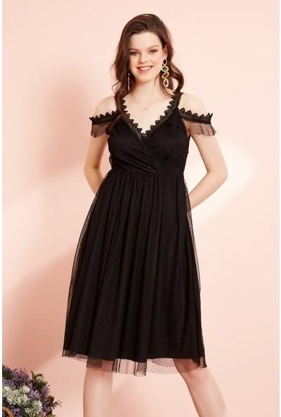 Freestar Kruvaze Yaka Dantel Askılı Tül Elbise-Siyah