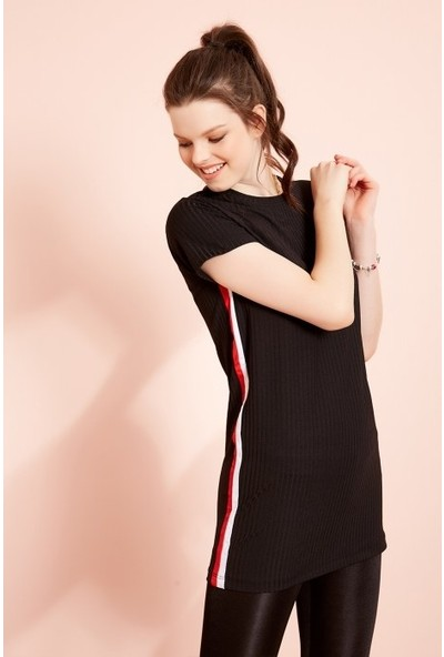 Freestar Yanı Şeritli Kaşkorse Elbise-Siyah