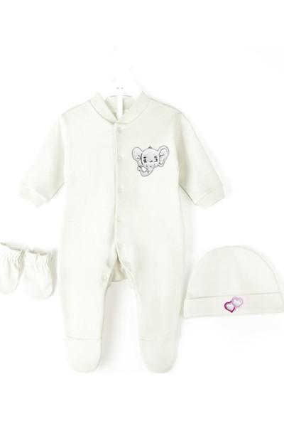 Oulabimir Uzun Kollu Bebek Tulumu Fil Baskılı Bebek Kıyafeti