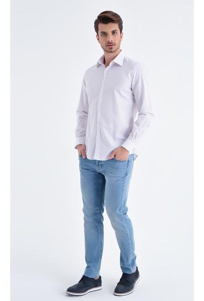 Hatemoğlu Baskılı Slim Fit Gömlek