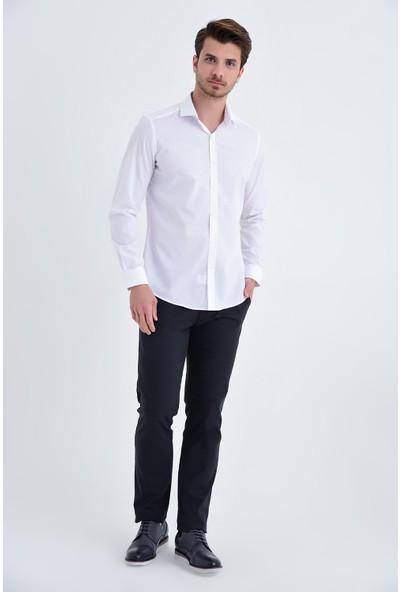 Hatemoğlu Beyaz Desenli Slim Fit Gömlek