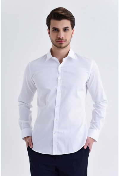Hatemoğlu Beyaz Düz Slim Fit Gömlek