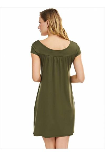 Ayyıldız Kadın 59333 Kısa Kollu Penye Elbise Haki-1