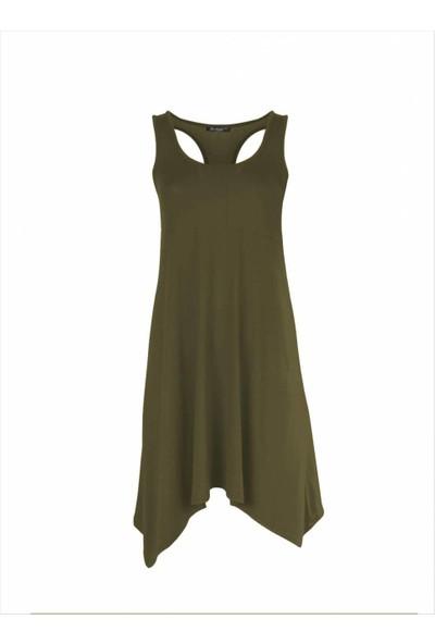 Ayyıldız Kadın 59344 Kalın Askılı Penye Elbise Haki-1