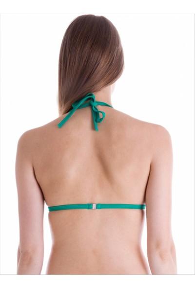 Ayyıldız Kadın 63518 Üçgen Push-Up Bikini Üstü Nil Yeşili