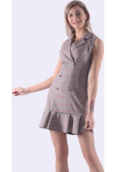 İroni Pötikare Blazer Elbise - 5132-1291 Kırmızı Bej