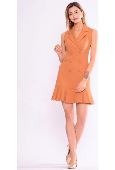 İroni Kolsuz Blazer Tutun Elbise - 5132-891 Tutun