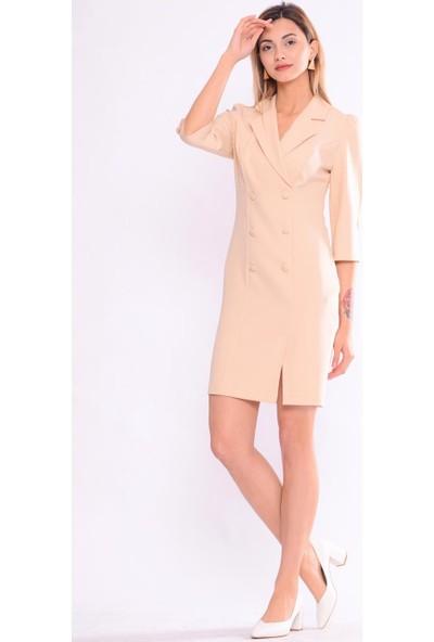 İroni Blazer Açık Bej Elbise - 5154-891 Açık Bej