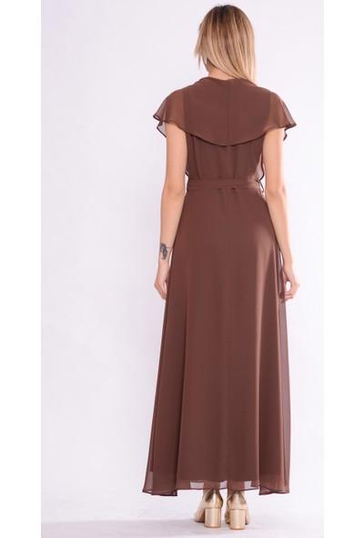 İroni V Yaka Uzun Şifon Kahve Elbise - 5184-308 Kahve
