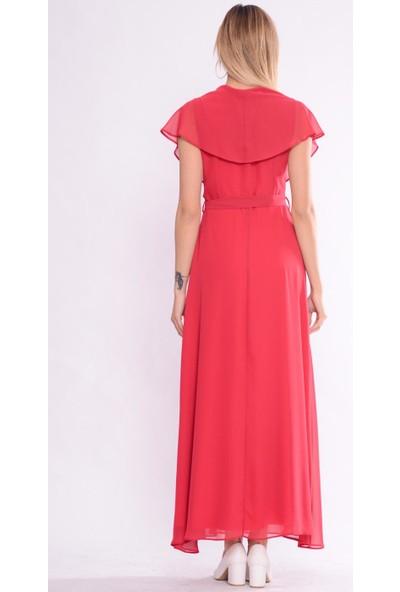 İroni V Yaka Uzun Nar Şifon Elbise - 5184-308 Nar