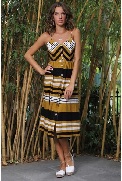 İroni Keten Çizgili Safran Askili Elbise - 5207-1261 Safran