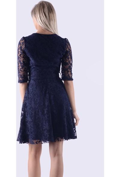İroni Dantel Lacivert Mini Elbise - 5223-633 Lacivert