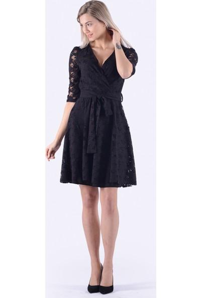 İroni Dantel Siyah Mini Elbise - 5223-633 Siyah