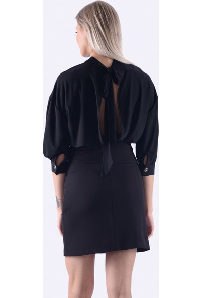 İroni Balon Kol Mini Siyah Elbise - 5232-284 Siyah