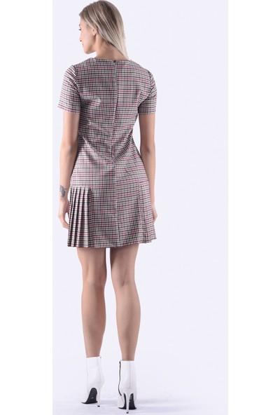İroni Pötikare Pileli Elbise - 5237-1291 Kırmızı Bej