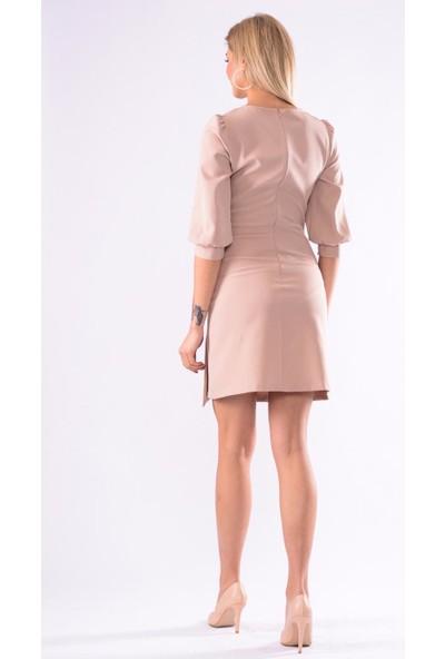 İroni Balon Kol Mini Elbise - 5238-891 Bej