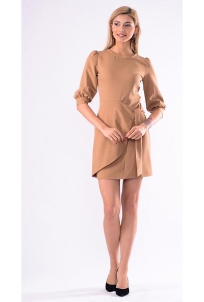 İroni Balon Kol Mini Elbise - 5238-891 Kamel