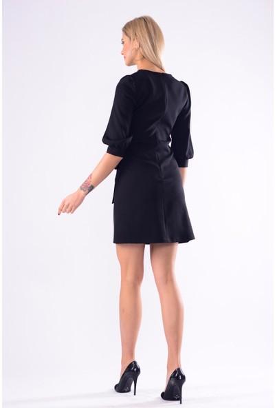 İroni Balon Kol Mini Siyah Elbise - 5238-891 Siyah