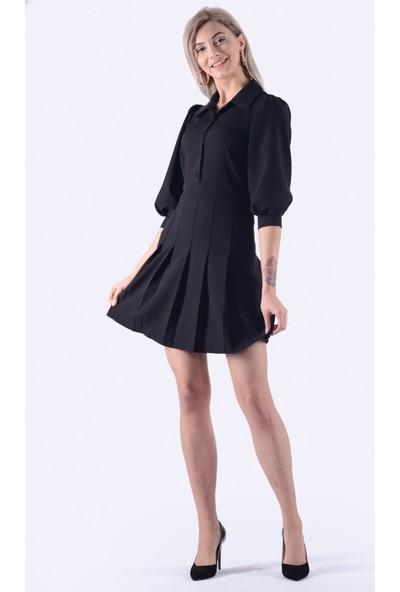 İroni Pileli Mini Siyah Elbise - 5239-891 Siyah
