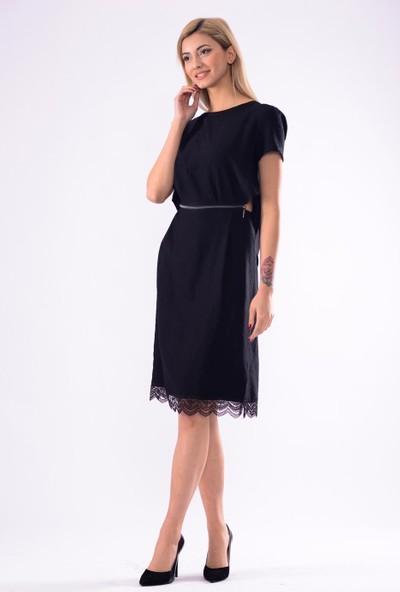 İroni Sirt Detayli Uzun Elbise - 5241-1256 Siyah