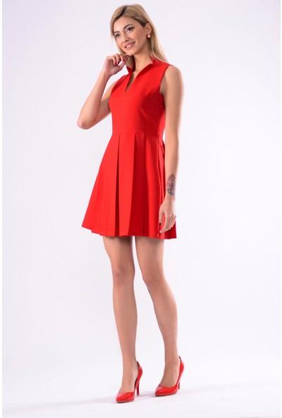 İroni Hakim Yaka Pileli Elbise - 5242-891 Kırmızı