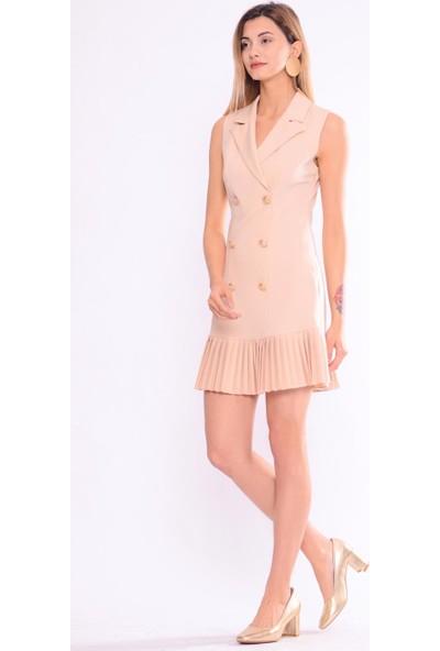 İroni Pileli Ceket Açık Bej Elbise - 5248-891 Açık Bej