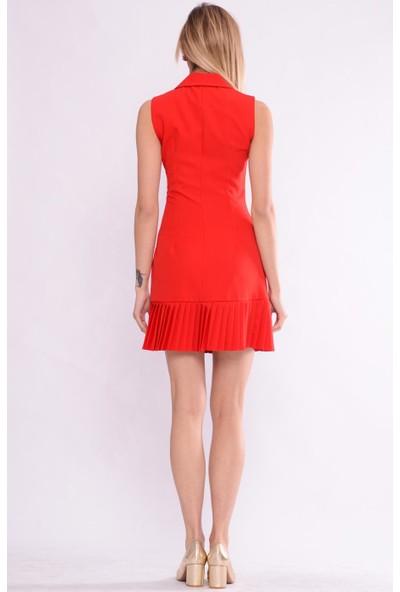 İroni Pileli Kırmızı Ceket Elbise - 5248-891 Kırmızı