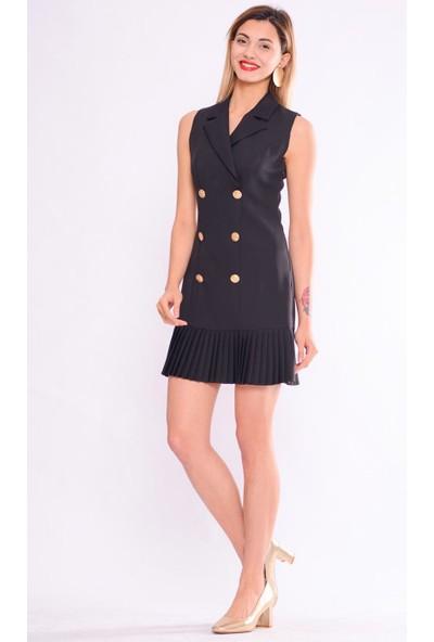 İroni Pileli Siyah Ceket Elbise - 5248-891 Siyah