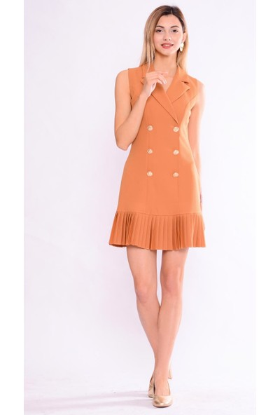 İroni Pileli Tutun Ceket Tutun Elbise - 5248-891 Tutun