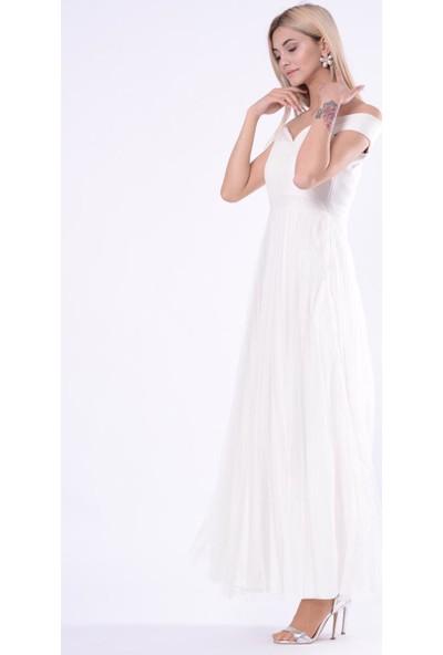 İroni Madonna Yaka Ekru Uzun Abiye Elbise - 5249-1240 Ekru