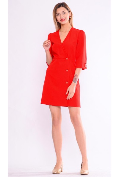 İroni Kruvaze Kırmızı Ceket Elbise - 5250-891 Kırmızı