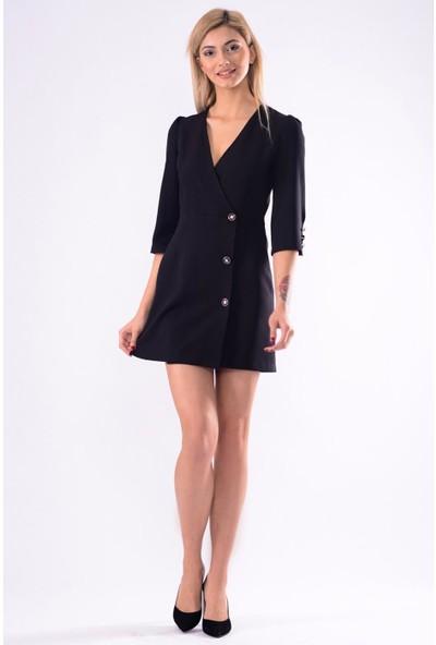 İroni Kruvaze Ceket Elbise - 5250-891 Siyah
