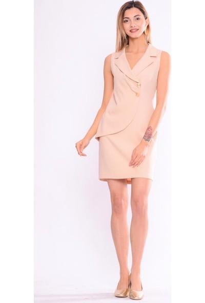 İroni Kolsuz Ceket Açık Bej Elbise - 5254-891 Açık Bej