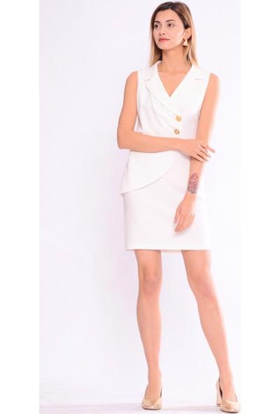 İroni Kolsuz Ekru Ceket Elbise - 5254-891 Ekru