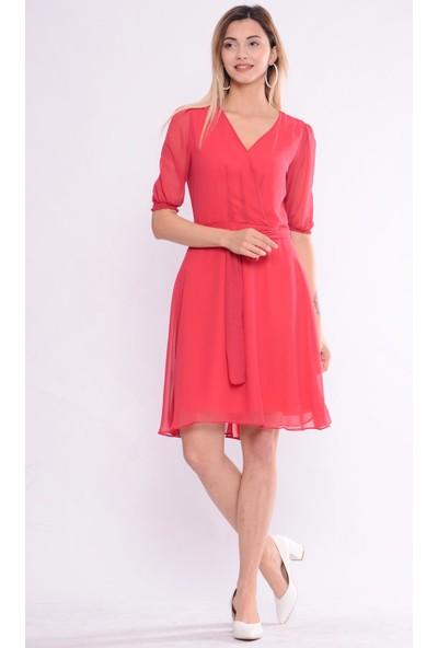 İroni Şifon Nar Balon Kol Elbise - 5256-308 Nar