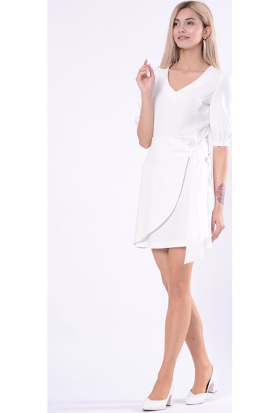 İroni Kemerli Ekru Mini Elbise - 5258-891 Ekru