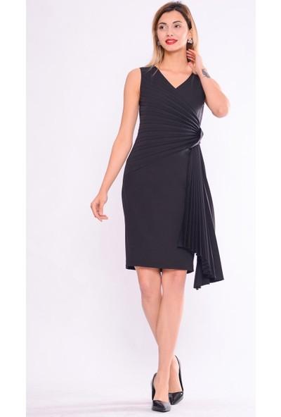 İroni Pile Detayli Siyah Kalem Elbise - 5264-891 Siyah