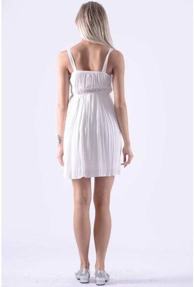 İroni Ön Dantelli Askilli Kisa Elbise - 994743-Acnsn Beyaz